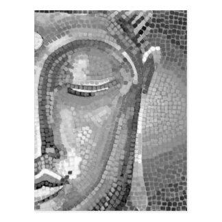 Svartvitt Buddha ansikte Vykort