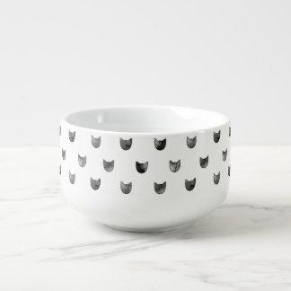 Svartvitt chic gulligt kattmönster stor kopp för soppa