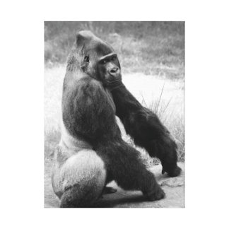 Svartvitt djurt porträtt för gorillaZookanfas Canvastryck