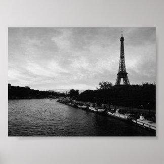 Svartvitt Eiffel torn Poster