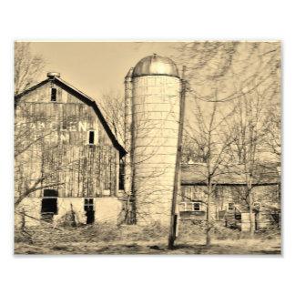 Svartvitt fotografiskt tryck för ladugård 10x8