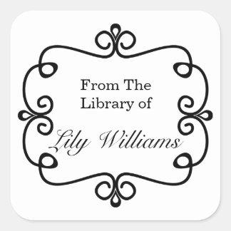 Svartvitt från bibliotek av bokägarmärken fyrkantigt klistermärke