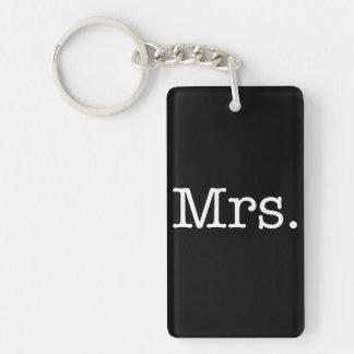 Svartvitt Fru bröllopsdagcitationstecken Nyckelring