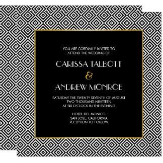 Svartvitt geometriskt kvadrerar bröllop fyrkantigt 13,3 cm inbjudningskort