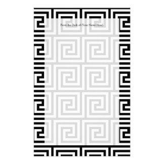 Svartvitt grafiskt greknyckelmönster brevpapper
