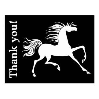 Svartvitt hästSilhouettetack Vykort