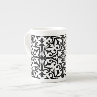 Svartvitt Ikat damastast mönster - Bone China Kopp