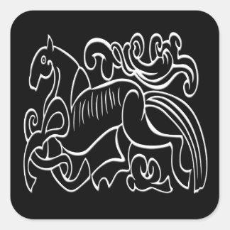 Svartvitt inverterat grafiskt för nordisk häst fyrkantigt klistermärke