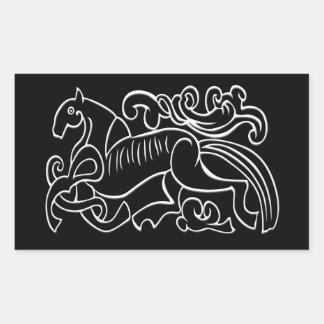 Svartvitt inverterat grafiskt för nordisk häst rektangulärt klistermärke