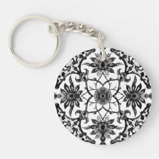 Svartvitt kinesiskt mönster för art nouveau - dubbelsidigt rund akryl nyckelring