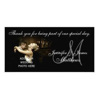 Svartvitt kort för brölloptackMonogram Anpassingsbara Fotokort