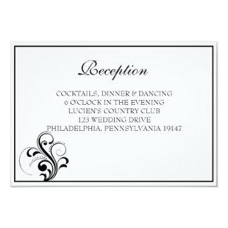 Svartvitt kort för krusidullbröllopmottagande 8,9 x 12,7 cm inbjudningskort