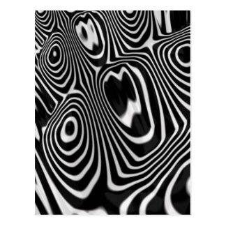 Svartvitt mönster för abstrakt 3D Vykort