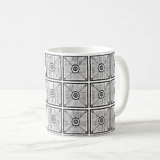 Svartvitt primitivt mexicanskt mönster kaffemugg