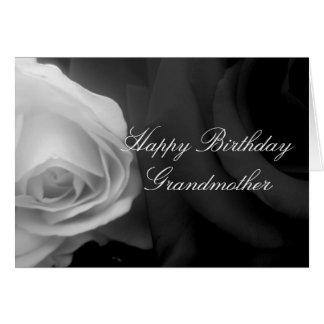 Svartvitt rosa farmorfödelsedagkort hälsningskort