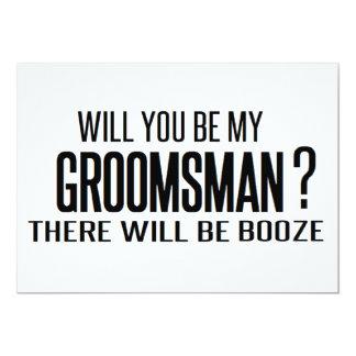 svartvitt som ska dig, är min groomsman? gifta sig 12,7 x 17,8 cm inbjudningskort