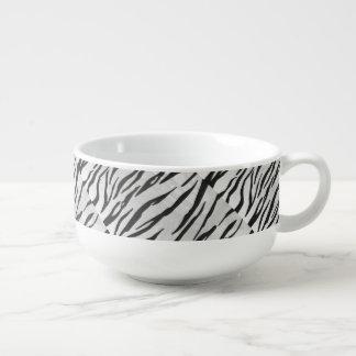 Svartvitt tryck för tiger stor kopp för soppa