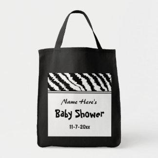 Svartvitt zebra mönstrad för baby shower. Egen Tote Bags