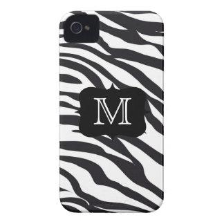 Svartvitt zebra ränderMongrammed fodral Case-Mate iPhone 4 Fodral