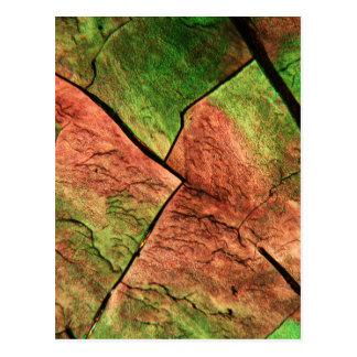Svavelkristaller under ett mikroskop vykort