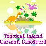 Tropical Island Cartoon Dinosaurs