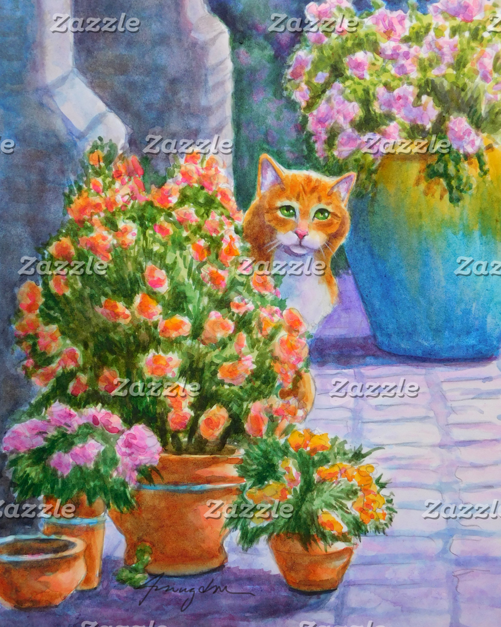 Ginger Cat with Flower Pots