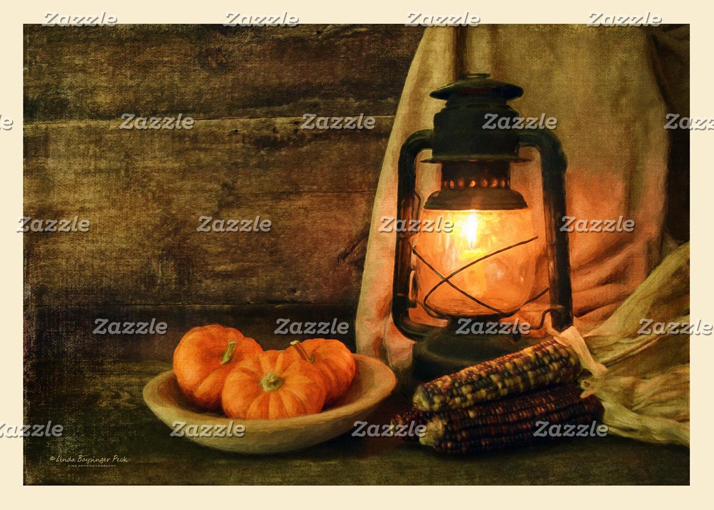 Lantern Light With Pumpkins