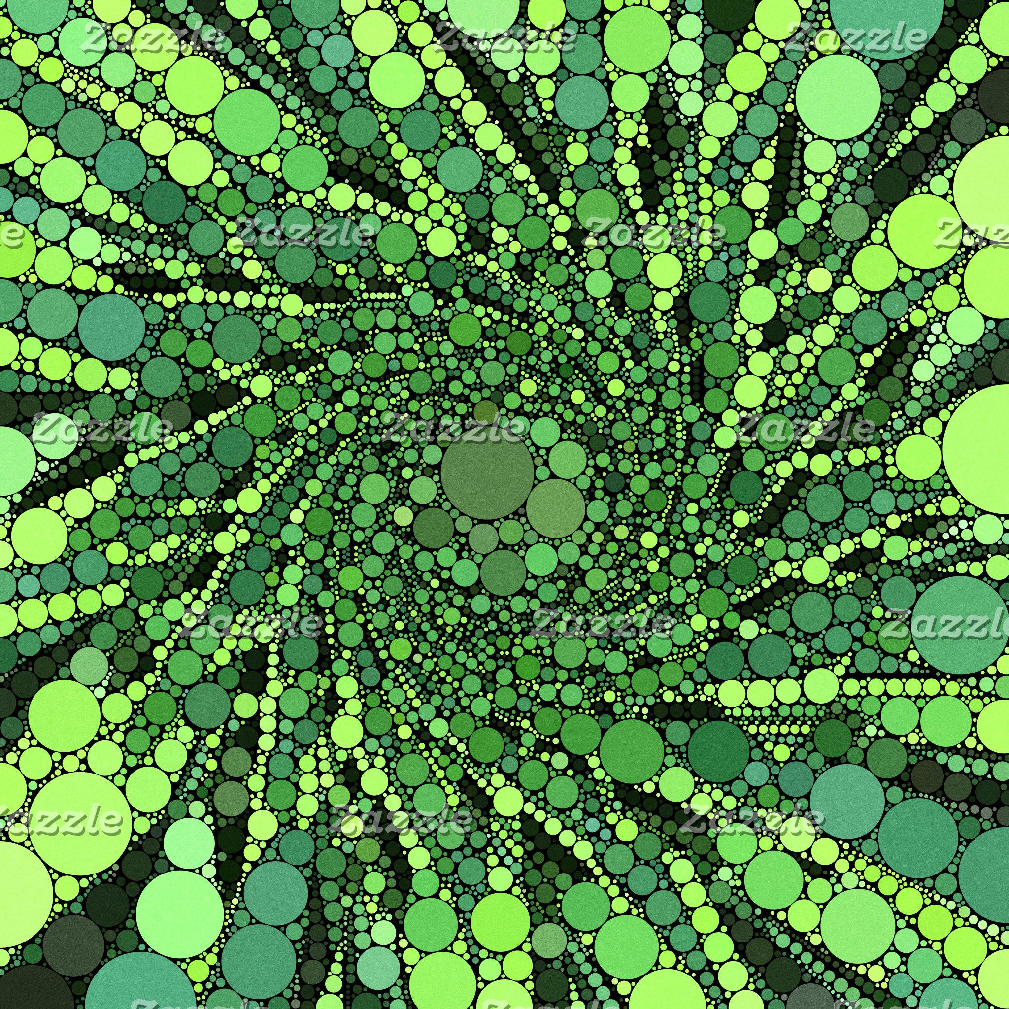 Geometric Patterns   Green Black Circles