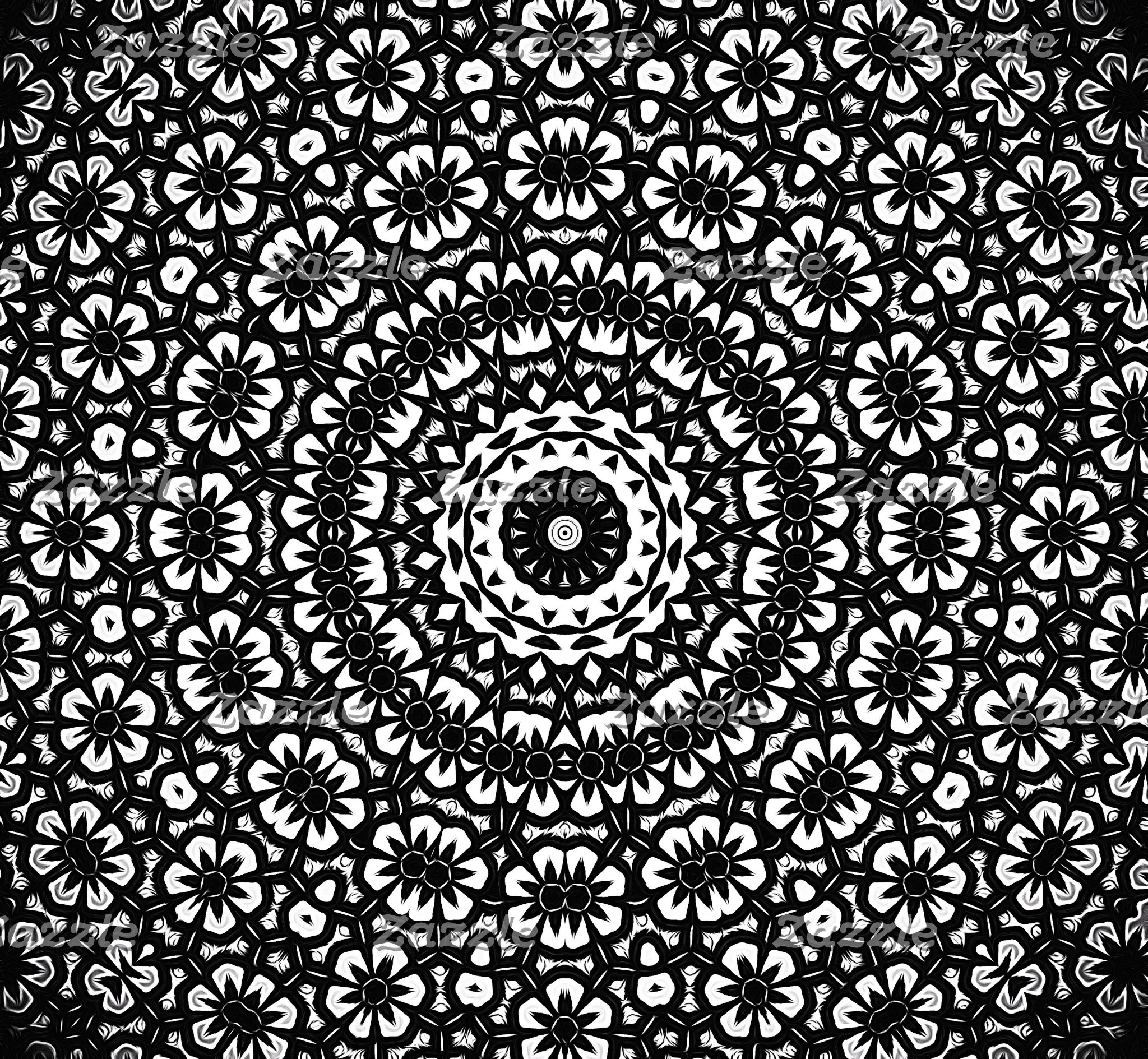 Black and White Kaleidoscope Pattern I
