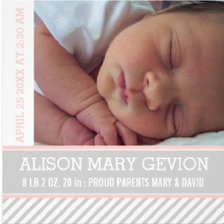 Simple baby birth announcement