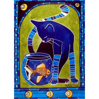 Cat Art - Blue Cat With Goldfish