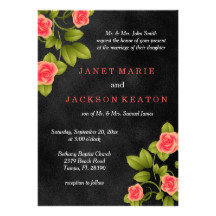 Black Chalkboard and Coral Rose Wedding