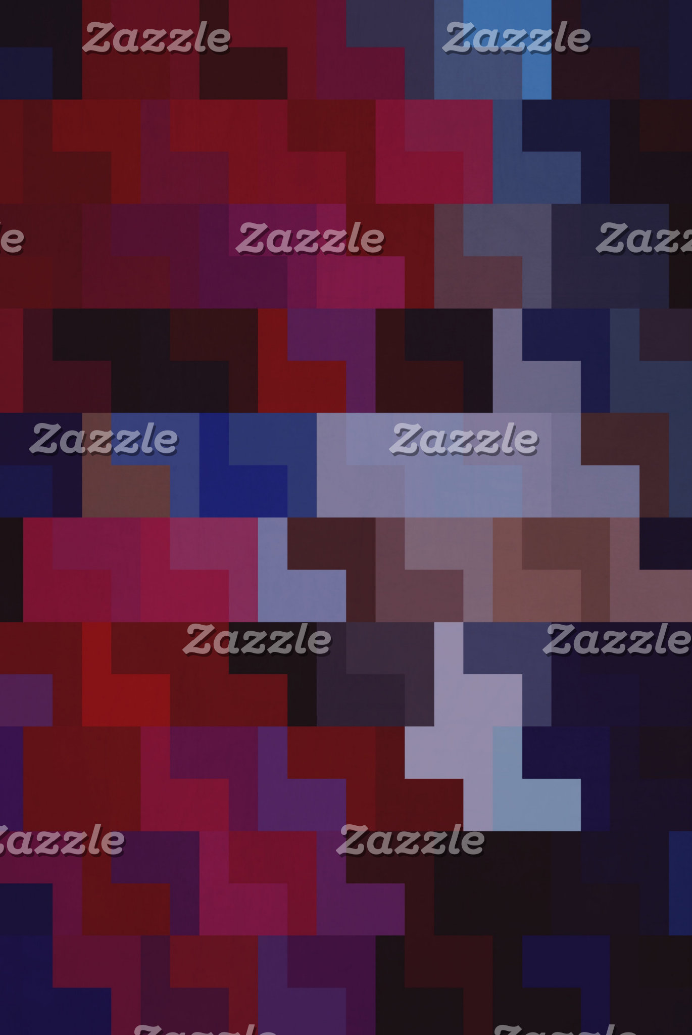Geometric Abstract Art   Purple and Blue Tiles