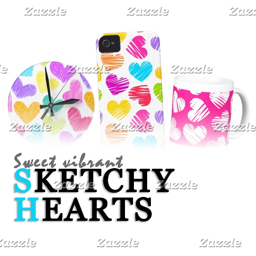 Sketchy Hearts & Love patterns