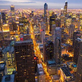 Downtown Chicago skyline at dusk