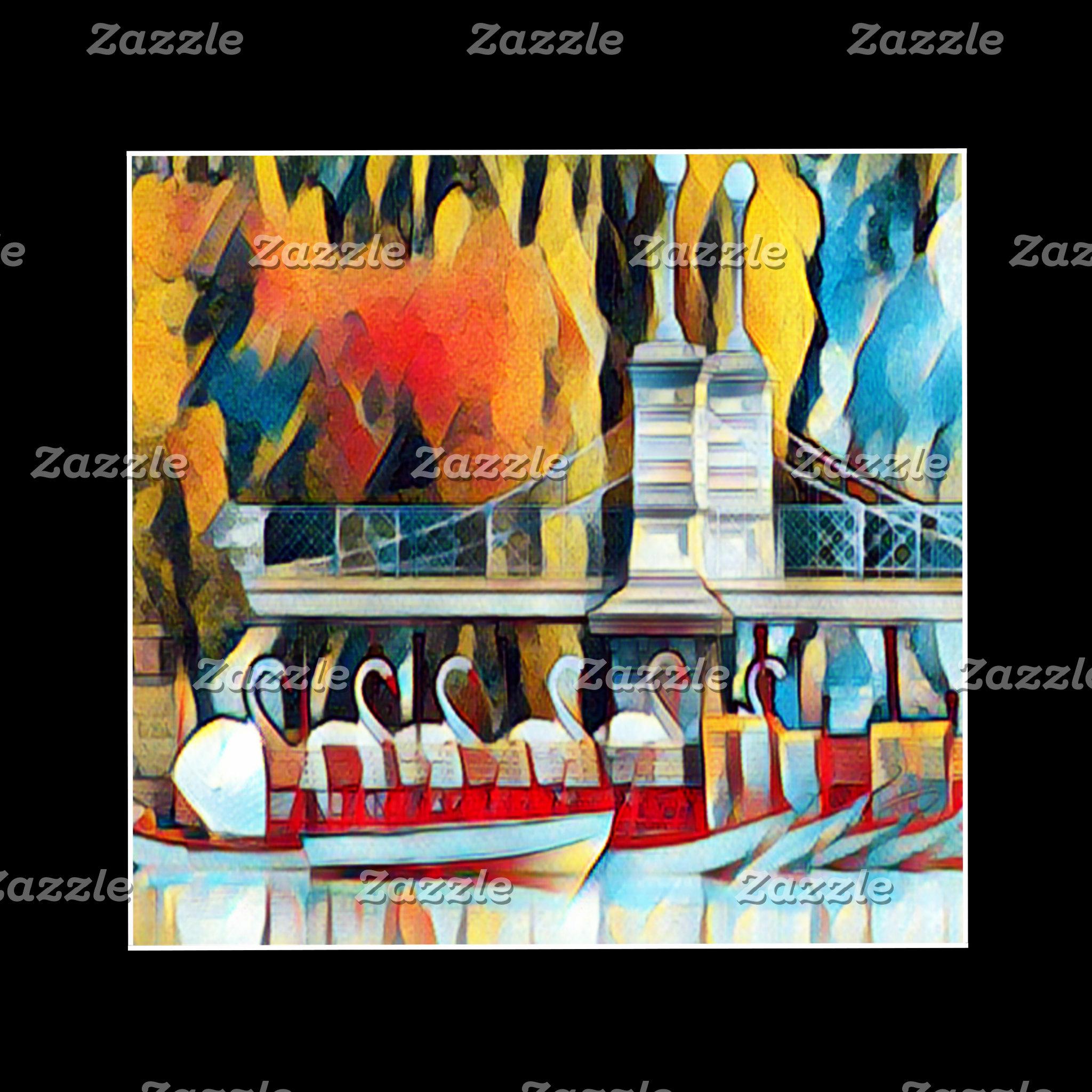 Boston Swan Boats Art Deco