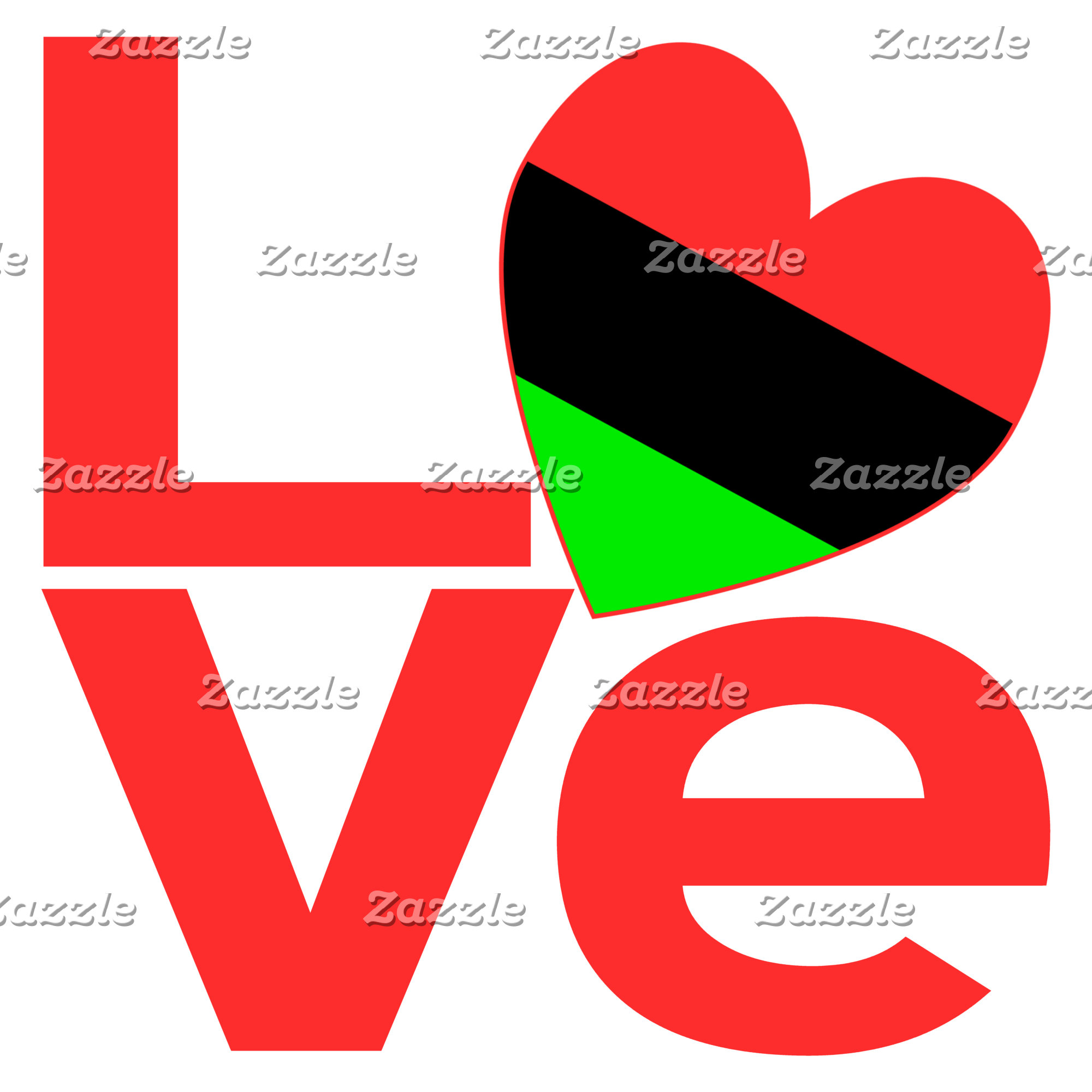 African American Red LOVE Flag