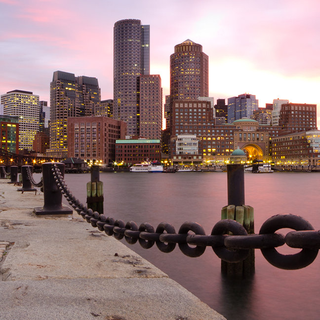 Wide angle of Downtown Boston Financial district