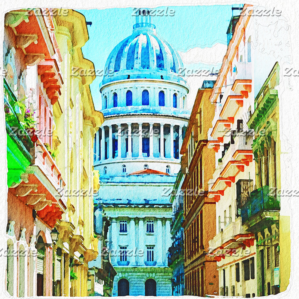 Havana Capitolio Watercolor