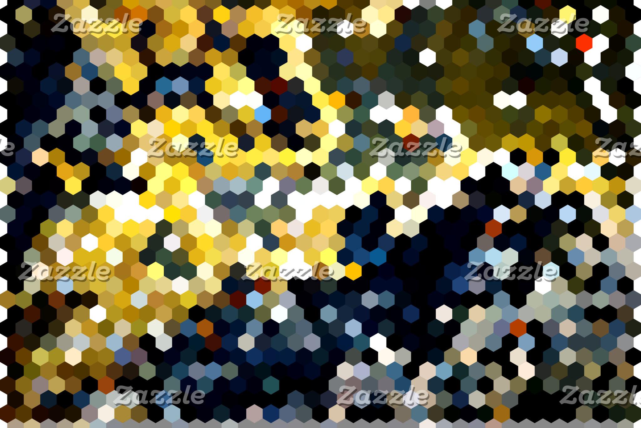 Geometric Patterns   Blue & Yellow Hexagons