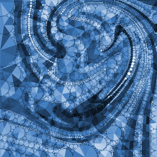 Blue Geometric Abstract Triangles and Circles