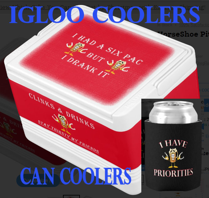 HorseShoe Pitching Igloo Coolers,Can Coolers