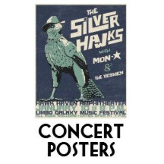 1980s cartoon concert posters