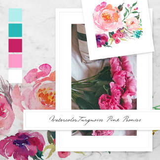Pink Turquoise Peonies
