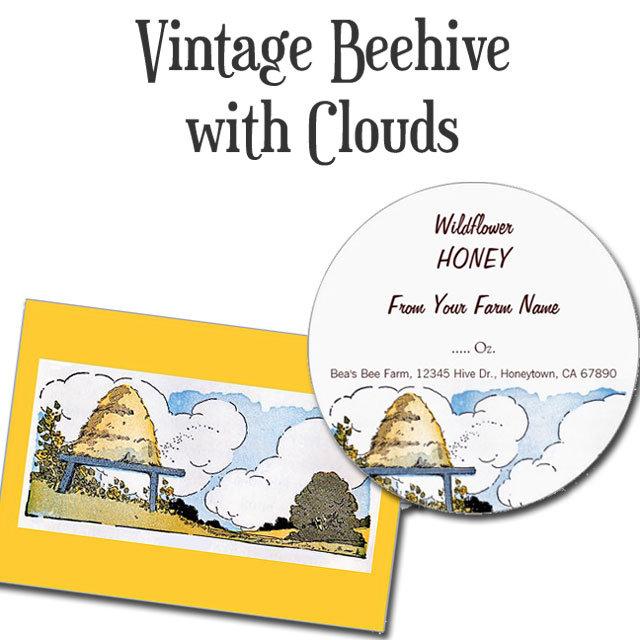 Happy Bee Hive Vintage Landscape