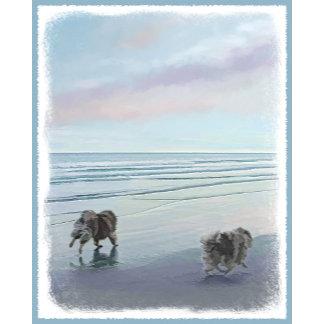Keeshonds at the Seashore