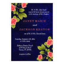 Beautiful Dark Blue and Coral Rose Wedding