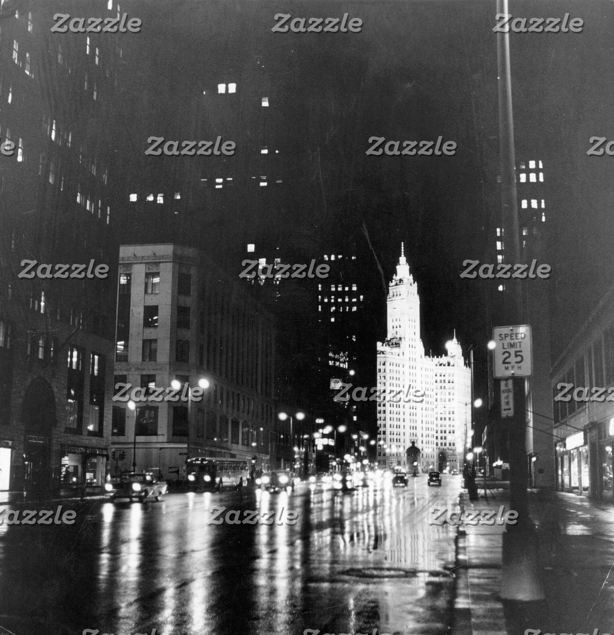 circa 1954:  A view down Michigan Avenue