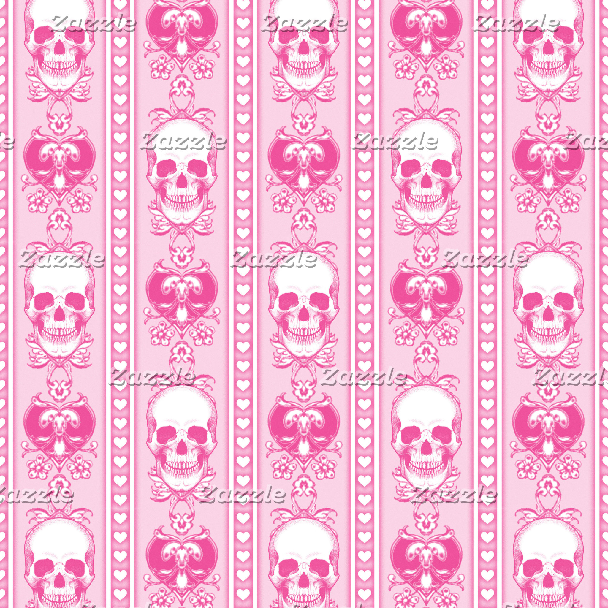 Baroque Skull Stripe Pattern Pink