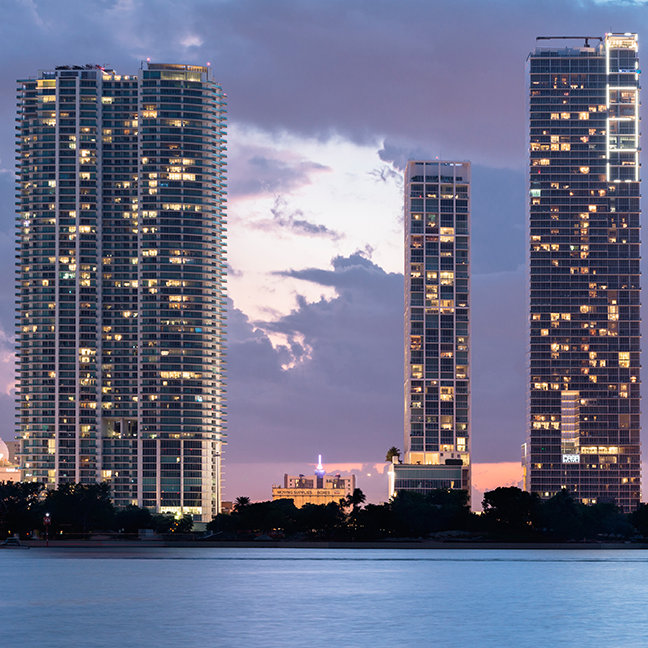 Condominium towers at the waterfront in Miami
